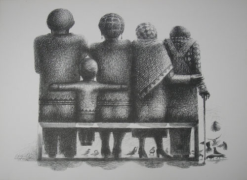 The Family 1 by John Biggers (Photo offset lithograph)