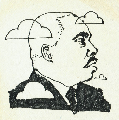 Martin Luther King, Jr. by William Pajaud (Ink on paper napkin)